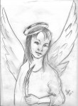 Angel with feather pen